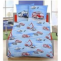 Ropa de cama infantil de franela (2piezas, tamaño 80x 80+ 135x 200cm, fabricado en Alemania), diseño de policía y bomberos