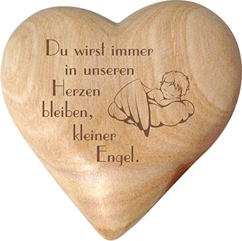 Grabschmuck - Herz aus Holz - ca. 10 x 10 cm - mit individueller Inschrift/Gravur