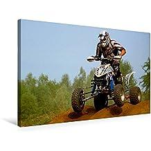Premium Textil-Leinwand 75 cm x 50 cm quer, Crossfahrer mit Quad - Motocross | Wandbild, Bild auf Keilrahmen, Fertigbild auf echter Leinwand, Leinwanddruck (CALVENDO Sport)