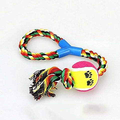 WSS Cotone corda giocattoli animali anello v-plus corda palla cane giocattolo cane molari molari di giocattolo corda corda di cotone . color random hair - Singola Corda Di Cotone