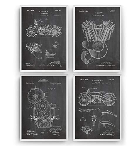 nt Posters - Satz Von 4 - Size A4 21 x 29.7 cm - Art Motorbike Gift Motorcycle Patentplakat Prints Poster Vintage Blueprint Retro Biker Wall Decor - Frame Not Included ()