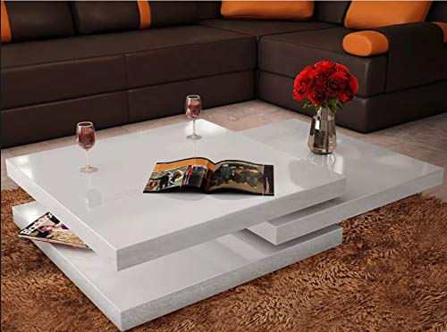 AEVOBAS vidaxl Couchtisch 360° drehbar, Wohnzimmertisch ausziehbar, Sofatisch Beistelltisch Lounge Tisch Tisch 3 Ebenen Hochglanz Weiß MDF