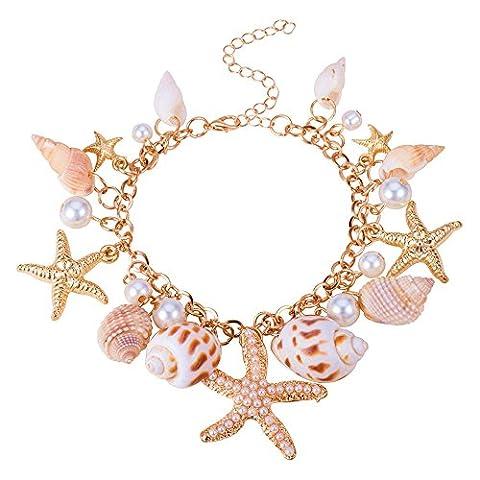 BODYA Hot Sweet Chunky Gold Tone Sea Shell Starfish Pearl beads pendant Bib Statemen bracelet wonen girls jewelry gold