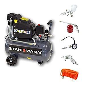 STAHLMANN Kompressor 24L AC3000-24 + 5-tlg Druckluft-Set
