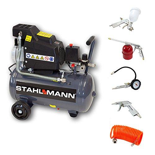 Preisvergleich Produktbild STAHLMANN Kompressor 24L AC3000-24 + 5-tlg Druckluft-Set
