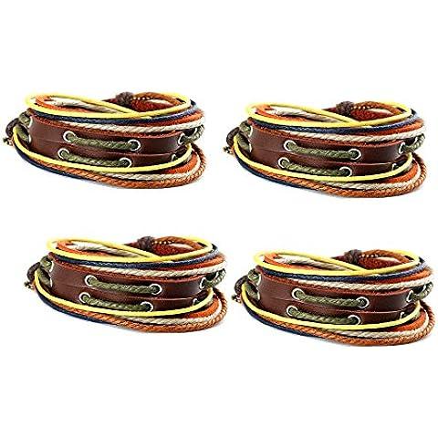 Confezione da 4, colore: marrone con filati di canapa a polsino con catena in metallo, regolabile GBO