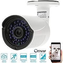 KKmoon Kamera 1080P HD POE IP Camera 2,0MP 3,6mm 1/2,8Zoll CMOS H.264P2P ONVIF 36IR LEDs Nachtsicht IR-Cut Bewegungserkennung Phone App Kontrolle Sicherheit Haus