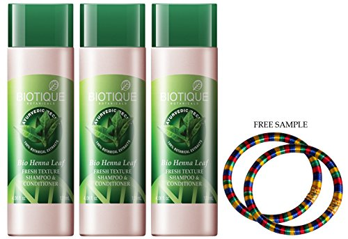 Biotique Henna Leaf Fresh Textur Shampoo & conditioner-190ml – (Pack von 3) –