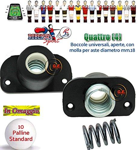 Roberto sport calcio balilla quattro (4) boccole 2008 universali aperte per calcetti champion. boccole in nylon e fibra di vetro complete di molle in acciaio. palline in omaggio.