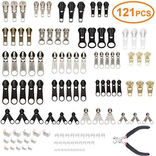 AFDEAL Reißverschluss Reparatursatz, 121 Stück Reißverschluss Ersatz Reißverschluss Kit mit Reißverschluss Installieren Sie Zangen für Taschen, Jacken, Zelte, Gepäck, Schlafsack