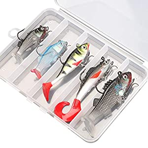 DONQL Soft Fishing Lures Kit, Fishing Lures Baits Tackle Set for Freshwater Trout Bass Salmon-Include Vivid Spinner Baits, Artificial Silicone Bass Baits With Box (5PCS)