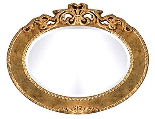 Spiegel oval in Blattsilber oder Blattgold oder Elfenbein und Blattgold patiniert, ovaler Spiegel mit Dekoration elegant klassisch, Einrichtung chic für Wohnzimmer/Schlafzimmer/Flur (Elfenbein Spiegel Oval)