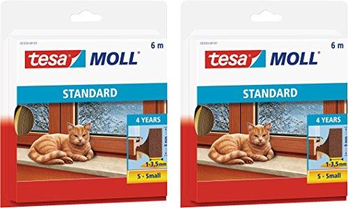tesamoll® STANDARD I-Profil Schaumstoffdichtung für Fenster und Türen (6mx9mmx4mm / 2er Pack, braun)