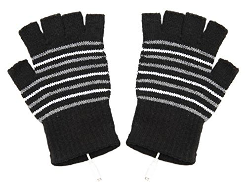 TININNA Cálido USB clásico de rayas de invierno climatizada de punto de  lana sin dedos Guantes 7fd27580b9d