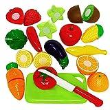 TONZE Frutta Verdure Giocattolo da Tagliere-Giochi di Ruolo per Bambini-Accessori da Cucina Giocattolo Taglio-Giochi Educativi Prima Infanzia-Regalo Perfetto per Bambini 3 4 5 Anni(15 Pezzi)