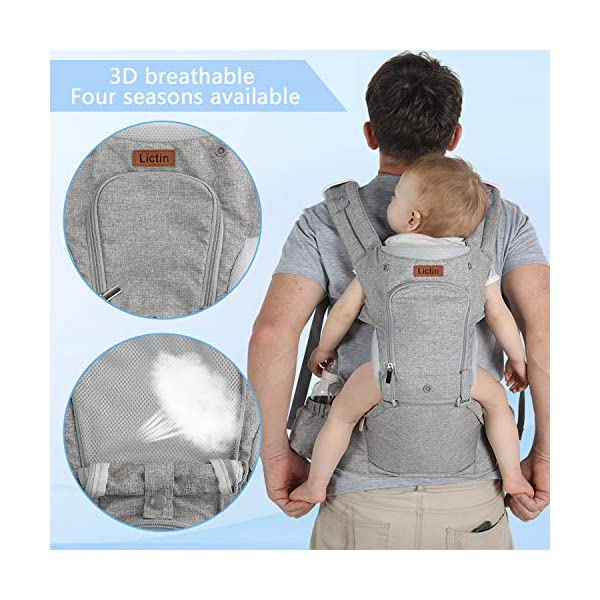 Lictin Baby Carrier for Newborn - Baby Sling Wrap Newborn Baby Carrier Sling Baby Back Carrier Ergonomic Baby Carrier Front and Back for Newborn to Toddler(3.5kg-15kg) (Grey) Lictin Baby carrier newborn to toddler: with soft padding and high-class fabric, our baby carrier backpack could bear the weight from 3.5kg to 15 kg(7.7 lbs to 33 lbs) Pocket breathable window: to keep your baby cool or warm through summer or winter, by simply zipping up the window or unzipping it Worry-free:baby carrier backpack is with SGS certification and CE EN 13209-2:2015 safety certification 5
