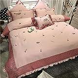D&LE Prinzessin-Stil Rosa Duvetabdeckungssatz,Vier stück Baumwolle Verdickung Bettwäsche Stickerei Bettbezug Pastoralen Stil 4stück Bettwäsche set-7pc Queen1