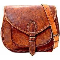 Shakun Leather auténtico vintage Piel bolso de bandolera marrón para mujeres, NUEVO