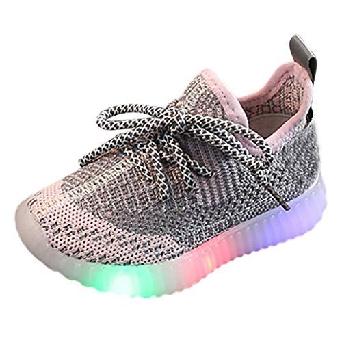 Fannyfuny Kinderschuhe Babyschuhe Unisex Baby Jungen Mädchen Sneaker Sportart Turnschuhe Laufschuhe mit LED Flash beleuchtete Casual Atmungsaktiv Rutschfeste Strapazierfähige Wanderschuhe mit Schnürer