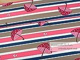 Mamasliebchen Jersey-Stoff Rainy Day Umbrella #pink Teal