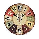 JIANGYE Retro Madera Pared Reloj Pared ClocksLarge Pared Arte Decorativo silencioso no Hacer tictac Colorido Calidad Cuarzo batería operado Granja Antiguo