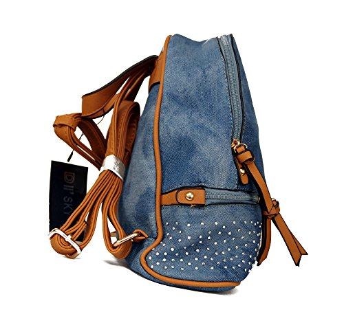 5286aacbfda31 Damen Mädchen Jeans Tasche mit Strass Cityrucksack Mini Rucksack  Schultertasche Umhangtasche Handtasche kleiner Rucksack Stadtrucksack in  Jeans Farben aus ...