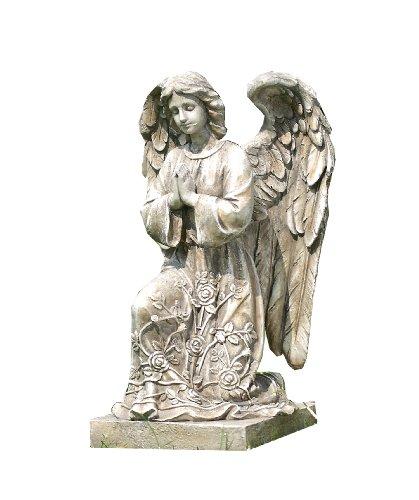 Napco Gartenstatue, kniend, betender Engel auf Sockel (Betender Statue Engel-garten)