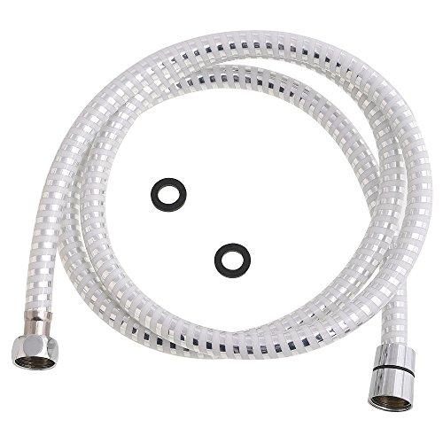 ORYX 4040293–Dusch-Schlauch PVC, Weiß/Silber, 1,5m (Silber-schlauch)