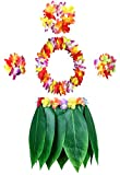 KEFAN Leaf Hula Skirt y Hawaiian Leis Set Grass Skirt con Flores de Hibisco Artificiales para Hula Costume y Beach Party (A)