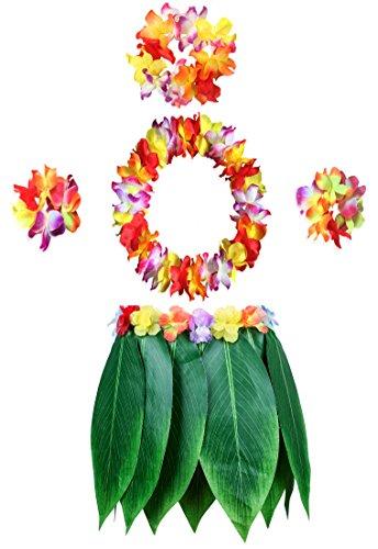 KEFAN Blatt Hula Rock und Hawaiian Leis Set Grass Rock mit künstlichen Hibiskusblüten für Hula Kostüm und Beach Party (Rock + Leis 01)