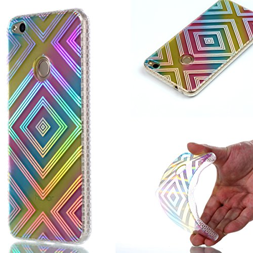 Cover Huawei P8 Lite 2017, Custodia Huawei P8 Lite 2017, Cozy Hut Premium Beautiful IMD Craft Gradient Color Design per Huawei P8 Lite 2017 Cover Custodia Silicone Transparente Pulire Stampa TPU Back  Reticolo del diamante