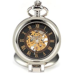 AMPM24 Black Dial Magnifier Mens Skeleton Mechanical Silver Pocket Watch Fob Chain + AMPM24 Gift Box WPK023