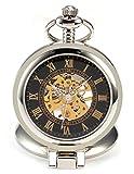 AMPM24 Black Dial Magnifier Mens Skeleton Mechanical Silver Pocket Watch Fob Chain + AMPM24 Gift Box WPK023