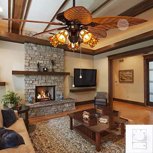 GaLon Tiffany-Stil Deckenventilator, Licht aus Holz Blatt Palm Leaf Fan Lampe Indoor Outdoor Mute Deckenventilatoren Kronleuchter 5 Klingen 5 Lichter, 52 Zoll (Color : Wall Control) -