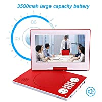"10.1"" Portable DVD Player with 10.1 Inch Large Swivel Screen HD, Built-in Rechargeable Battery, Stereo Sound, Regions Free, USB/SD/AV Out & IN,Red"