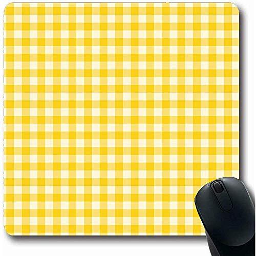Mau Mat,Pastelltisch Karomuster Gelb Farbe Abstrakt Picknick Karo Schottenkaro Weiß Plaid Design Retro Büro Computer Laptop Notebook Mauspad, Rutschfestes Gummi, 25X30Cm (Plaid-karomuster)
