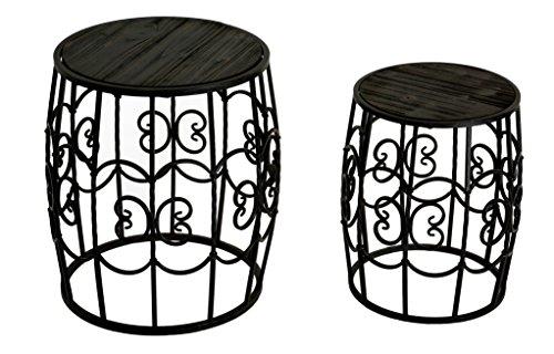 Set di 2fiori sgabello tavolino da tavolo da giardino in ferro battuto sedile set