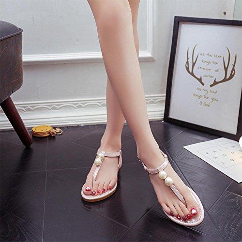 Sandali donna scarpe Pearl toe suole piatte scarpe scarpe da spiaggia scarpe tacco piatto scarpe romane piedi pizzico una parola fibbia dopo la benda imitazione scarpe in pelle Pink