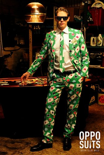 OppoSuits Designer Anzug Poker Face Kostüm Herren Partyanzug Fasching (Zwei Face Kostüm Jacke)