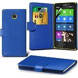 (Blau) Nokia X Custom Designed Stilvolle Accessoires zur Auswahl Schutzmaßnahmen Kunst Credit / Debit-Karten-Leder-Buch-Art Wallet Case Hülle & LCD-Display Schutzfolie von Hülle Spyrox