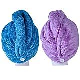Microfibra pelo secado toalla ultra absorbente Twist pelo turbante secado cap pelo Wrap–secado rápido toalla para secar el pelo turbante estilo por iceblueor (2unidades)