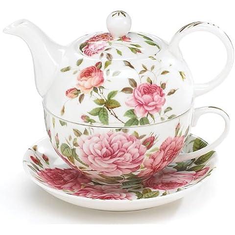 Porcelain Rose Tetera And Teacup Set