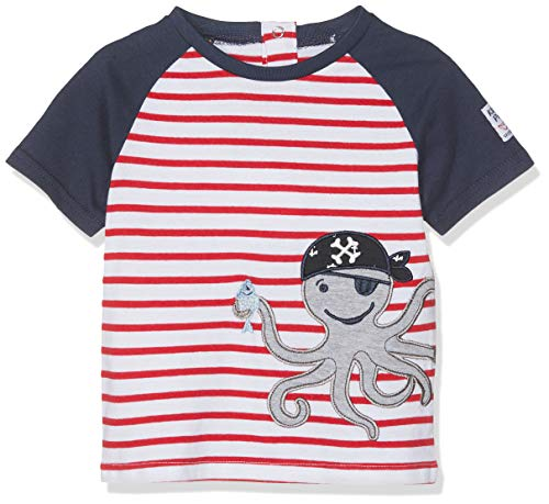 SALT AND PEPPER Baby-Jungen B Pirat Stripe Krake T-Shirt, Rot (Red 358), 86