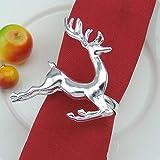 TianranRT Weihnachten Weihnachtsmann Claus Serviette Ring Weihnachten Baum Tisch Dekor Serviette Halter für Weihnachten Abendessen (Hirsch) - 4