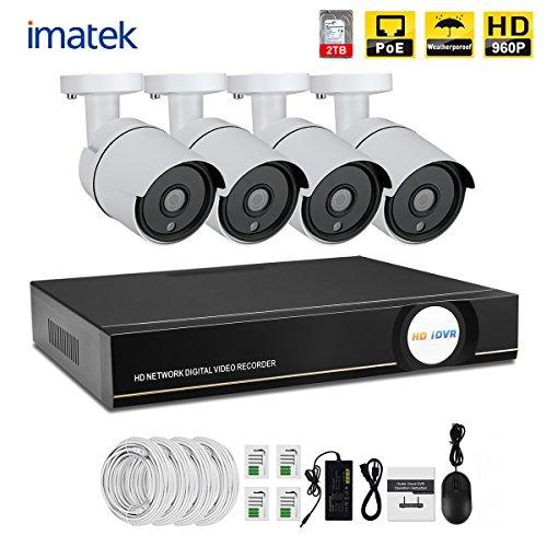 videovigilancia kit PoE Imatek X51364, 4pcs cámara de bala IR día / noche, IP66 para interiores y exteriores de 1,3 megapíxeles 960P NVR PoE conectados con H.264, kit de vigilancia de vídeo doméstico (disco duro de 2 TB incluyendo pre-instalado )