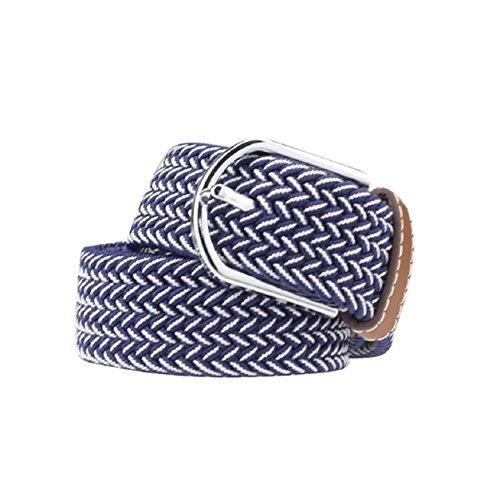 Atdoshop(TM) Men Casual Canvas Belt Elastic Rubber Concise Belt Metal Buckle Belt (Blue)