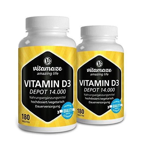 2 Dosen Vitamin D3 Depot 14.000 IE hochdosiert (14-Tage-Dosis), 180 vegetarische Tabletten (teilbar), Qualitätsprodukt-Made-in-Germany ohne Magnesiumstearat, jetzt zum Aktionspreis und 30 Tage kostenlose Rücknahme!