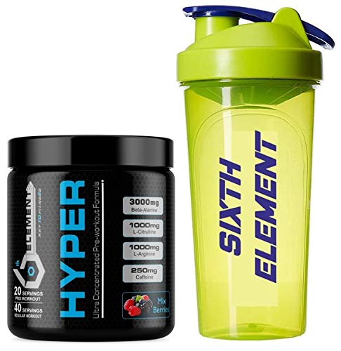 6th Element's HYPER Pre-workout - Mixed Berries - 40 servings with free iShake shaker worth INR 275