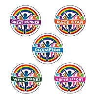 125 x Rainbow Runners Participant Sports Stickers. Fun Sports Day Stickers! 28mm School Stickers - Great Runner, Race Star, Champion, Well Done, Super Effort