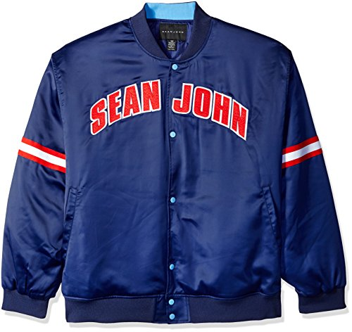 Sean John Herren Satin-Jacke Big and Tall - Blau - 6XL (Groß) -